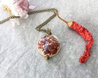 Necklace with glass pendant filled with Chili-culinary inspirations-botanical jewelry
