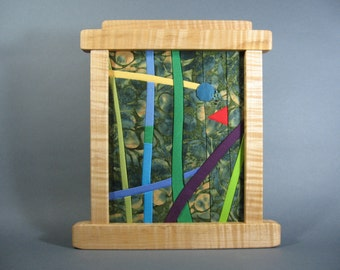 Small Art Quilt in Figured Maple Frame by pam beal and wayne walma