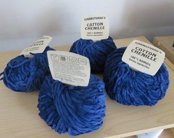 GarnStudio Cotton Chenille 4  Yarn Ballls Vintage Light Navy Blue