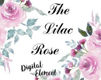 Watercolor Clip-art, Watercolor Rose Clipart, Lilac Rose Digital Clip-art, Wedding Clip-art, Shabby Chic Rose Bouquet. No. WC31