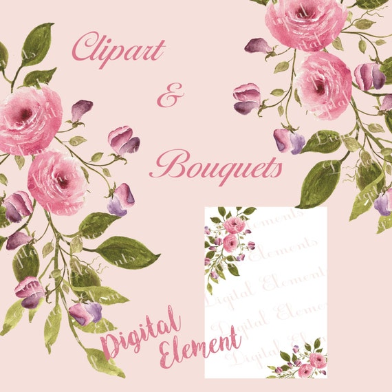 Watercolor Floral Clipart, Digital Shabby Rose Clipart