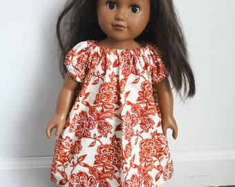 American Girl Doll Dress, 18 inch Doll Dress, Floral Doll Dress, Orange and White Floral Doll Dress