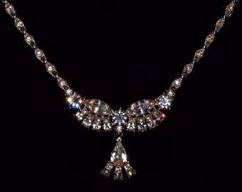 Beautiful Vintage Bridal Bogoff Clear Rhinestone Necklace Choker