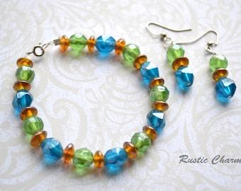Blue, Green and Orange Glass Bracelet and Earring Set