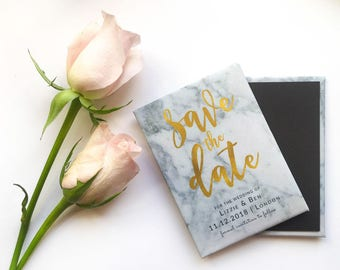Wedding Save the Date Magnet - Marble and Gold Foil Effect