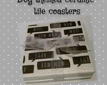 Tile coasters, dog theme, dog lover, pet lover, house warming gift, shower gift, birthday gift, ready to ship