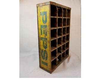 Pepsi Yellow & Blue Wood Crate w/ Bottle Dividers, Vintage, Wooden Crate, Pepsi Collectible, Pop Bottle Crate