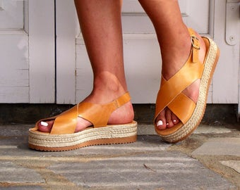NEW ESPADRILLE platform slingbacks leather sandals in natural color leather