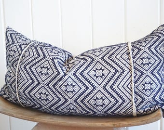 Chinese Embroidered Navy White Lumbar Pillow Cover Vintage Tribal Boho With 100% Belgian Linen Backing Exposed Gold  Zipper