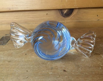 Vintage Blown Glass Candy Paperweight Blue Swirling Excellent