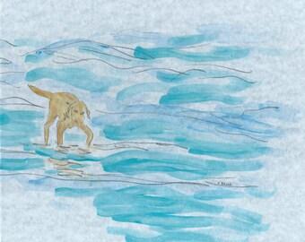 Yellow Labrador watercolor, coastal dog art, Lab, Retriever painting, original watercolor dog, abstract dog, beach decor, coastal art, lab