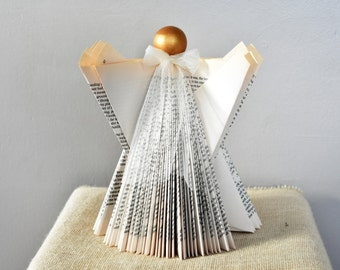 Origami Book Angel - Christmas Decoration - Folded Book Art - Altered Book - Paper Angel