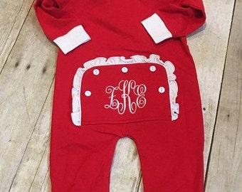 All in One Christmas Pajamas/Toddler Christmas Pajamas/Monogrammed Pajamas/Personalized Pajamas/Embroidered Drop seat Pajamas