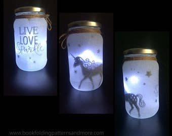 night light mood lighting unicorn fairy jar glitter jar christmas - Mason Jar Christmas Lights