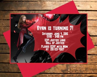 Downloadable Avengers Scarlet Witch Themed Birthday Invitation