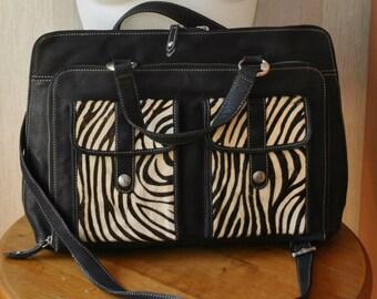 Vintage Enzo Angiolini black genuine leather  portmanteau / office bag with fur details