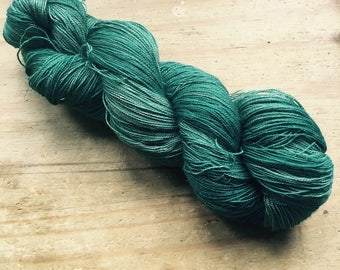 Simply Green ~ Hand Dyed Baby Camel & Silk Laceweight Yarn Wool