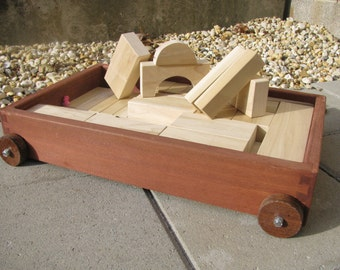 Wooden 42 Block Set with Wagon/Trolley