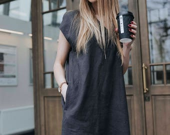 Dress, linen, loose dress, tunic, eco, friendly, black, with pockets