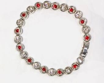 Vintage Red and White Crystal Tennis Bracelet