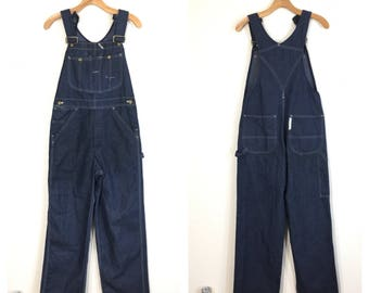 80's vintage sears denim overall work wear jeans 50/50 blend made in usa size w30