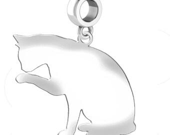 Grooming Cat Charm   Grooming Cat Silhouette Charm   Fits All European Style Bracelets   Grooming Cat Earrings