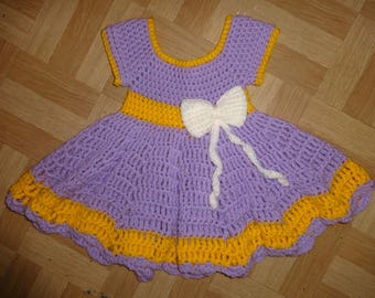Baby girls lilac crochet dress 3-6 months