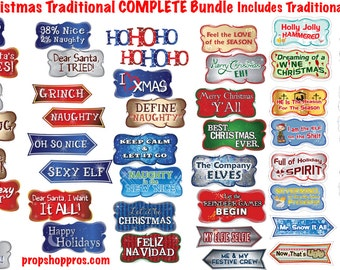 Christmas Photo Booth Props | Traditional Complete | Photo Booth Props | Christmas Prop Signs | Holiday Signs | Holiday Props