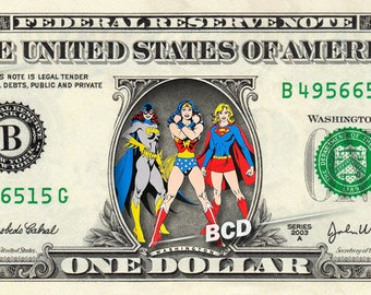 Batgirl Wonder Woman Supergirl - Real Dollar Bill Girl Power Cash Money Memorabilia Celebrity