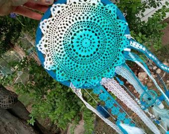 Teal dreamcatcher - handmade