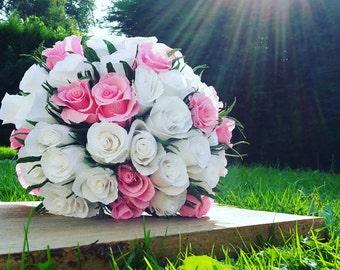 Bride Bouquet Wedding Paper Flowers, Paper Roses, Crepe paper flowers bouquet
