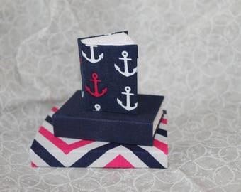 Miniature Navy and Pink Handmade Journal Set