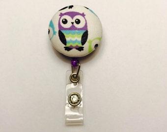Badge holder, purple owl fabric badge reel