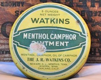 Vintage J.R. Watkins Co. Menthol Camphor Ointment Tin