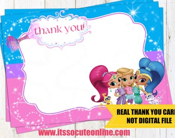 Shimmer and Shine Thank You Cards/Shimmer and Shine Invitation/Shimmer and Shine Thank you cards/Shimmer and Shine Stickers