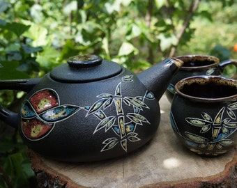 Black ceramic tea set Chinese spring Wedding gift for mother in law Chinese tea set Pottery set Housewarming gift Women birthday gifts