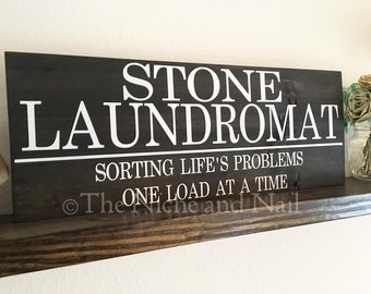 Laundry Room Sign, Laundromat Wood Sign, Rustic Home Decor, Handmade Decor, Laundry Room Decor, Personalized Home Decor, Custom Decor