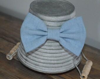 Chambray Blue Denim Hair Bow