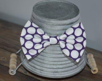 Dark Purple and White Polka Dot Hair Bow
