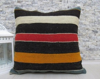multicolored kilim pillow 20 x 20 decorative cushion bohemian throw pillow organic couch pillow aztec pillow turkey pillow kilim cushion