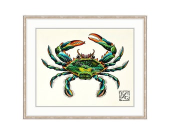 "Blue Crab 11""x14"" Giclee Print Of A Watercolor Painting For The Saltwater Angler Or Seafood Lover. Claws. Shellfish Print. Crabbing."