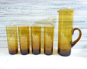 Vintage French handblown amber glass and jug set,  highball tumblers, lemonade glass, beer glass, coloured glass set.