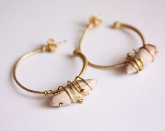 Ceramic/stone hoop earrings earrings with ceramic stone circle (made in Italy)