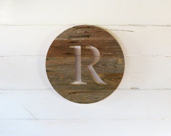 Round Personlized Barn Wood Monogrammed Home Decor Wall Art Sign, Gift, Reclaimed Wood, Monogram