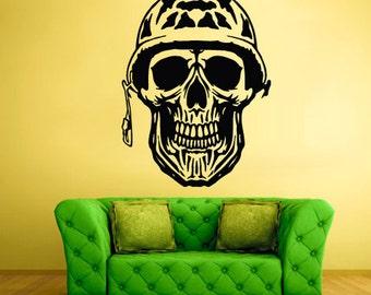 rvz2079 Wall Decal Vinyl Decal Sticker Decals Skull Bones War Helmet