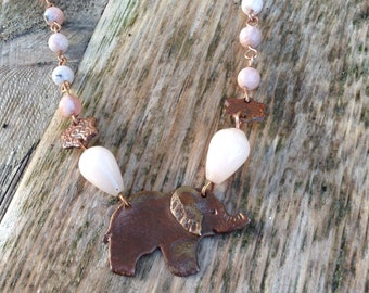 Elephant and moonstone necklace