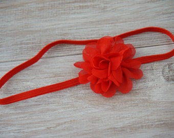 Red Flower skinny elastic Headband