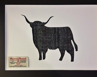 Harris Tweed Bull Picture - Scottish Gifts