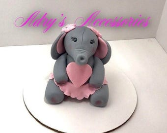 Gum Paste Baby Girl Elephant Cake Topper