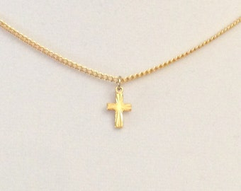 Vintage gold cross, ladies choker necklace, child's cross, Gold Karatclad cross, diamond cut cross with vintage clasp.